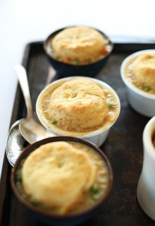 1 Hour Vegan Pot Pies! Topped with flaky, from scratch vegan biscuits