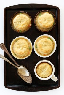 1-hour Vegan Pot Pies! Topped with flaky, homemade vegan biscuits