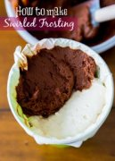How to Make Chocolate and Vanilla Swirled Frosting by sallysbakingaddiction.com