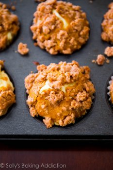 Pumpkin muffins filled with cream cheese filling and topped with sweet cinnamon brown sugar streusel!